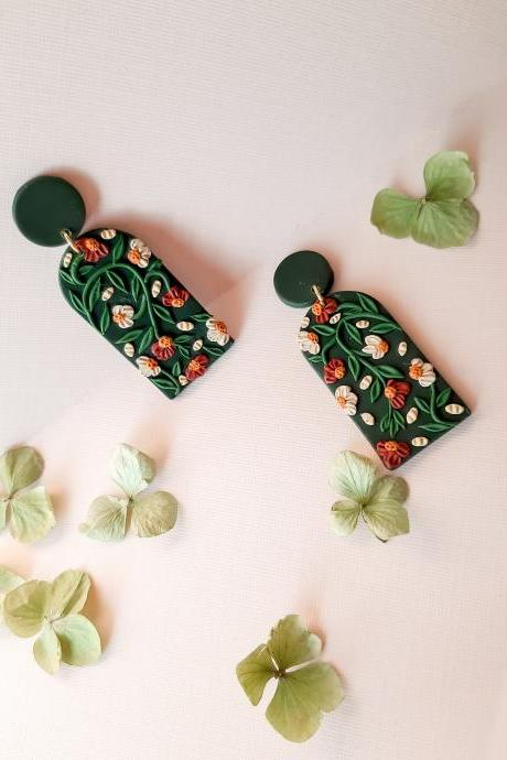 Emerald Floral Arched Polymer Clay stud Earrings