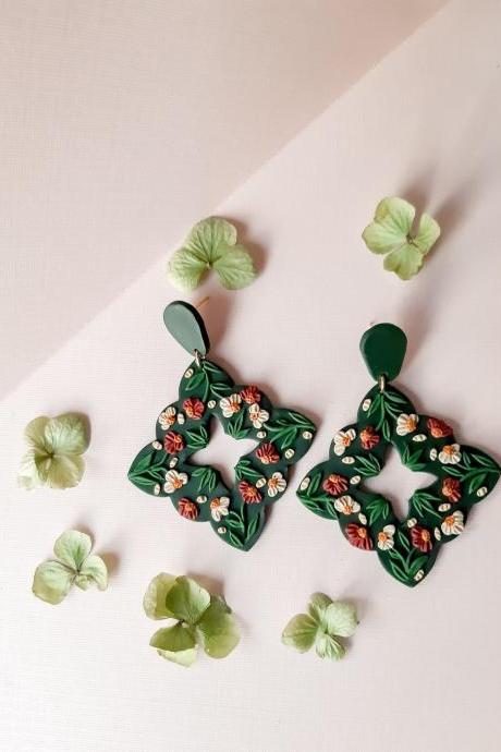 Emerald Floral Motif Polymer Clay Earrings