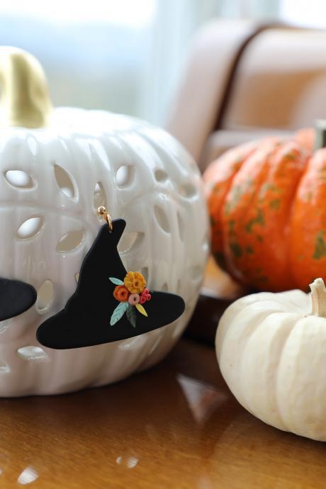 Halloween Collection Pumpkin, Hat, Ghost and Boo Polymer Clay Earrings